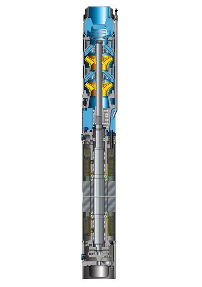 Unterwassermotorpumpe mit wassergefülltem nassen Motor als Bohrlochpumpe