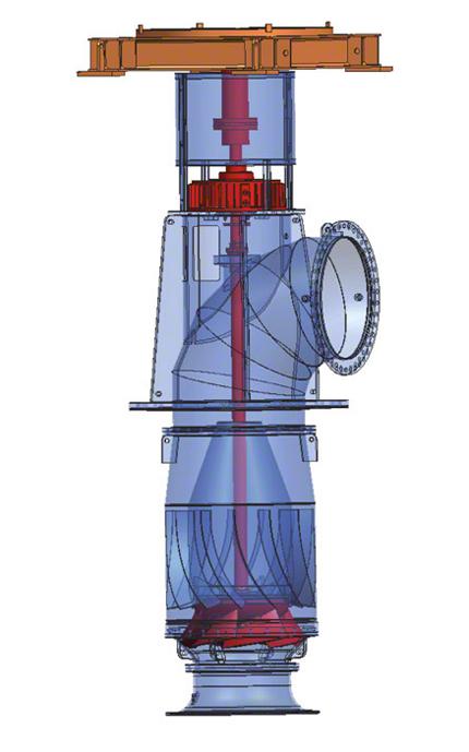 Kühlwasserpumpe: Rohrgehäusepumpe mit halbaxialem Propeller (einstellbar)