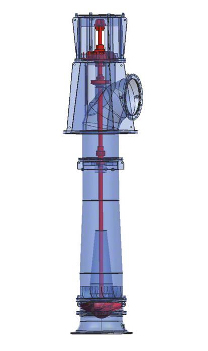 Kühlwasserpumpe: Rohrgehäusepumpe mit axialem Propeller (einstellbar)