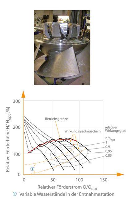 Kühlwasserpumpe: Typisches Kennfeld einer durch axiale oder halbaxiale Laufschaufelverstellung geregelten Propellerpumpe