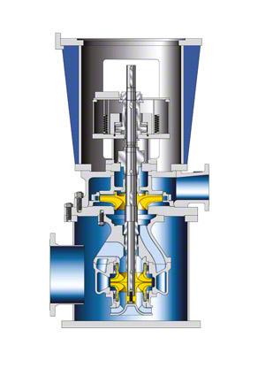 """Kondensatpumpe: Vertikale Ausführung in """"Trockenaufstellung"""" mit einer 2-strömigen Saugstufe"""