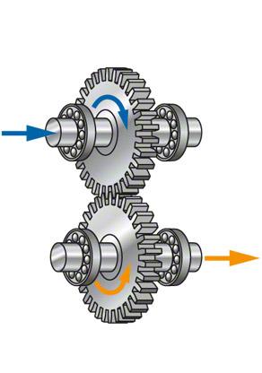 Zahnradgetriebe für Pumpen: Einstufiges Getriebe, Drehrichtung wird umgekehrt