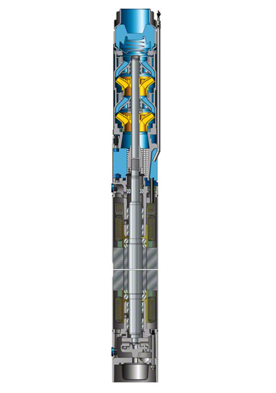 Submersible borehole pump: Combined with water-filled wet motor to form a submersible borehole pump set