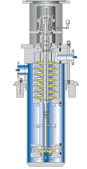 Refinery pump: Vertical multistage refinery pump in can-type design, shown without shaft seal