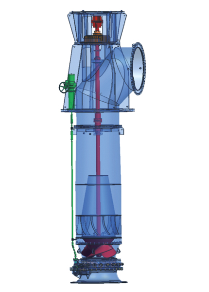 Mixed flow pump: Tubular casing pump with pre-swirl control equipment