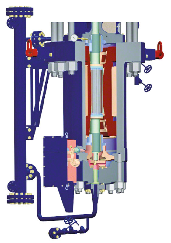 Wet rotor motor: Glandless recirculation pump with wet motor and water-cooled heat barrier for fossil-fuelled power stations