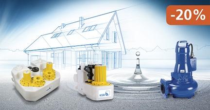 A KSB Amarex N, Compacta és mini-Compacta szennyvízátemelők, most 20% kedvezménnyel érhetők el.