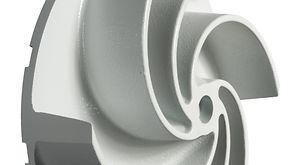 Close-up detail of the new impeller with new spacing for greater efficiency