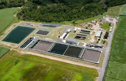 An aerial view of the upgraded Mackay Water Recycling Facility.