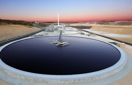 Dusk at the Alkimos waste water treatment plant in Western Australia, a Water Corporation asset.
