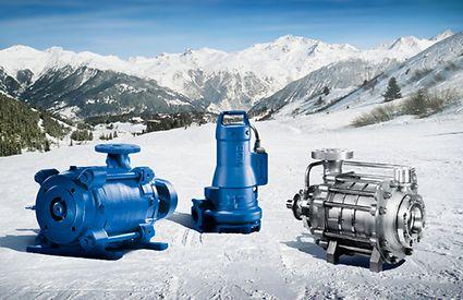 KSB pumps and valves set against ski tracks and mountains