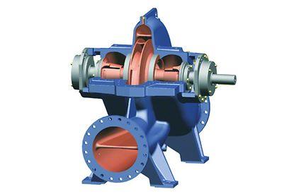 Pumpengehäuse: Längsgeteilte, horizontale Spiralgehäusepumpe mit zweiströmigem Zulauf