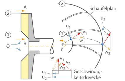 Geschwindigkeitsdreieck: Schaufelplan und Geschwindigkeitsdreiecke für den Schnitt A-B durch das Radialrad im Meridianschnitt