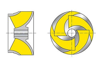 Laufrad: Halbaxialrad (Schraubenrad, Diagonalrad) (Draufsicht ohne vordere Deckscheibe dargestellt)