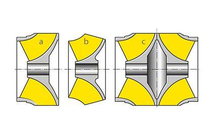 Zur Unterscheidung von geschlossenen und offenen, von einströmigen und zweiströmigen Laufrädern, gezeigt an einem Schraubenrad