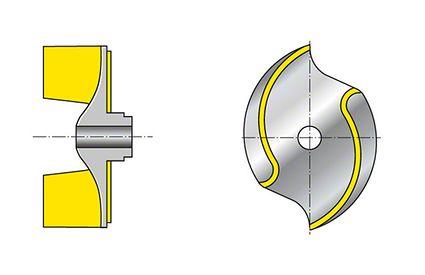 Laufrad: Offenes Zweikanalrad mit S-förmigen Schaufeln