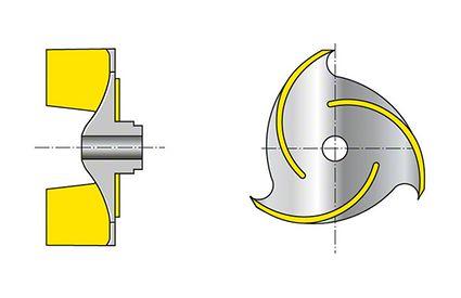 Laufrad: Offenes Dreikanalrad mit zylindrischen Schaufeln