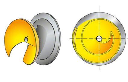 Laufrad: Offenes diagonales Einschaufelrad (D-Rad)