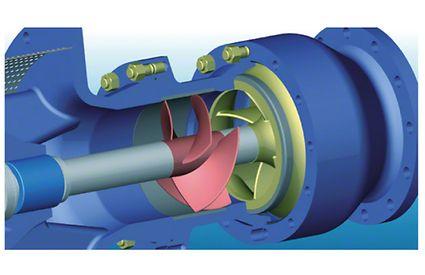 Vorsatzläufer (in Rot) vor der ersten Pumpenstufe einer Unterwassermotorpumpe