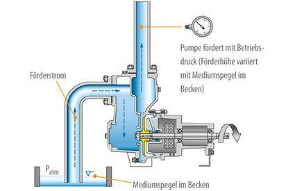 Selbstansaugende Pumpe: Kreiselpumpe mit zwei Gehäusekammern: Förderbetrieb