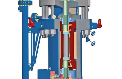 Circulating pump: Vertical pump, glandless circulating pump with wet rotor motor and heat barrier for steam power plants