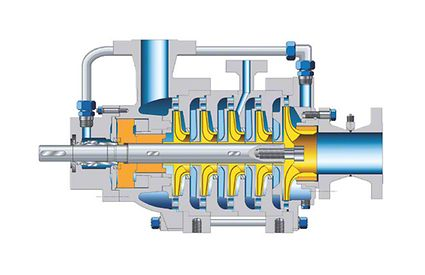 Pump casing: Multistage centrifugal pump with product-lubricated bearings