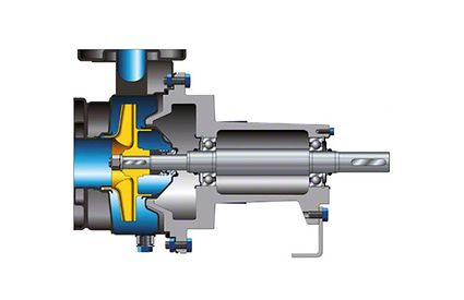 Pump casing: Centrifugal pump with casing of drawn chrome nickel steel