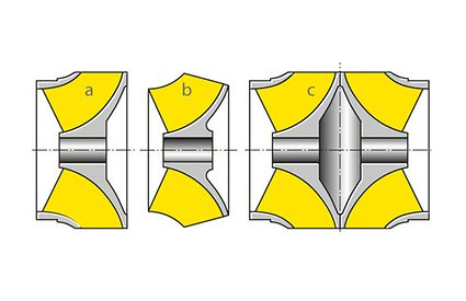 Impeller: Variants of a mixed-flow impeller showing the difference between a closed and an open impeller