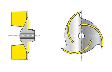 Impeller: Open three-channel impeller with cylindrical vanes