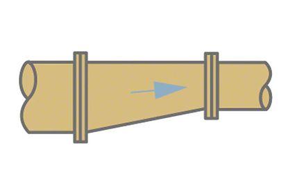 Fitting: Reducer for avoiding air pockets