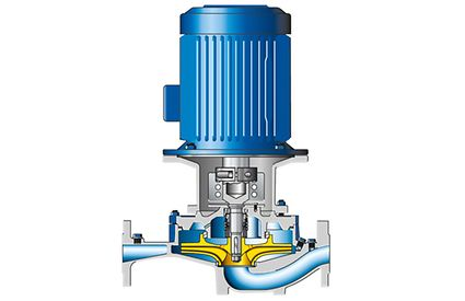 Volute casing pump: Axially split volute casing pump with radial impeller in in-line design, vertical installation position