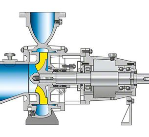 Pulp pump: Back pull-out design, open impeller, wear plate on suction side