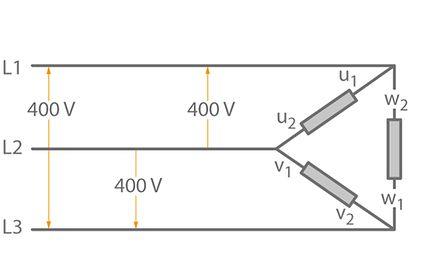 Three-phase current: Delta configuration