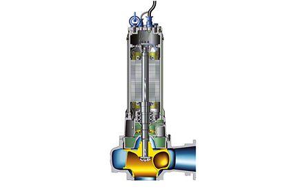 Waste water pump: Submersible motor pump with single-vane impeller