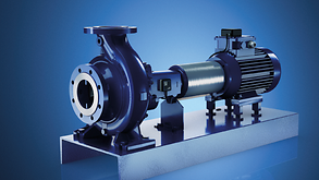 KSB pump with motor and mounted pump monitoring technology