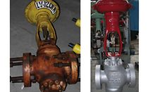 Control valves before and after refurbishment